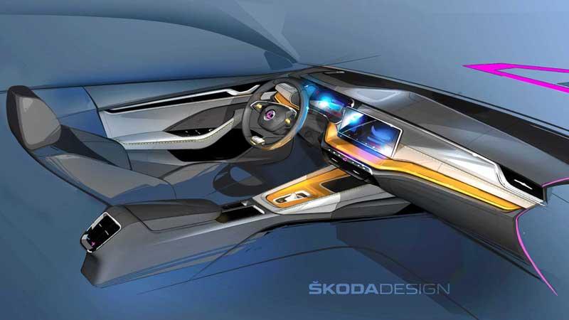 Skoda дразнит рисунком интерьера новой Octavia