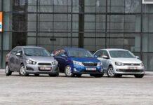 Chevrolet Aveo против Kia Rio против Volkswagen Polo