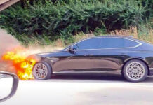 Новейший Genesis G80 загорелся во время движения